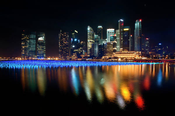 Celebration Photograph - Singapore Marina Bay - Fireworks In Sea by Fiftymm99