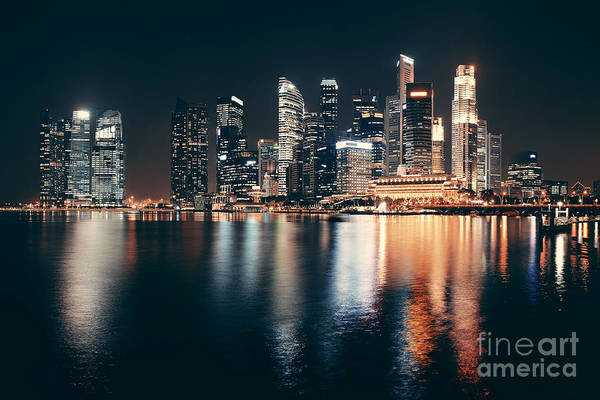 Singapore Skyline At Night With Urban Art Print by Songquan Deng