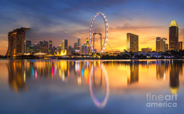 Wall Art - Photograph - Singapore Skyline. Singapore`s Business by Anek.soowannaphoom