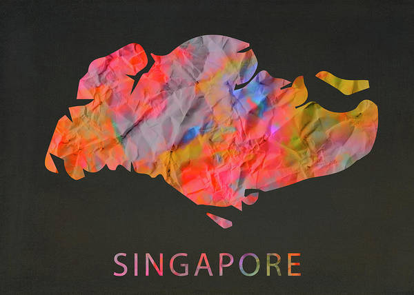 Wall Art - Mixed Media - Singapore Tie Dye Country Map by Design Turnpike