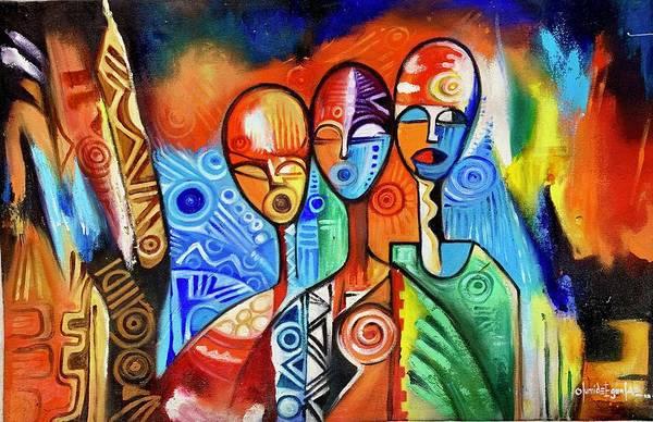 Painting - Singers by Olumide Egunlae