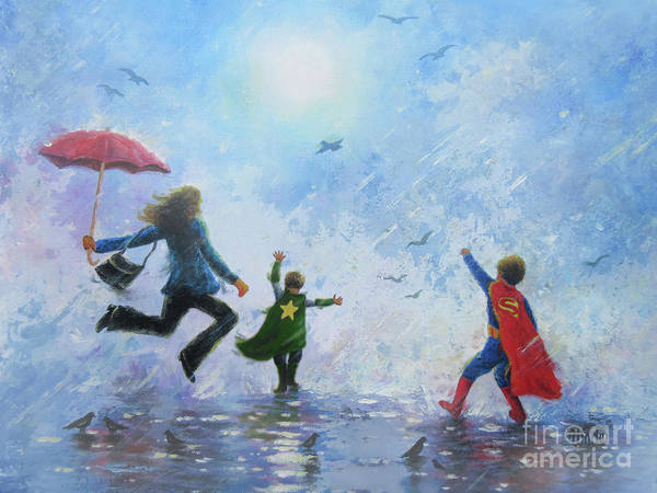 Wall Art - Painting - Singing In The Rain Mom Two Super Hero Boys by Vickie Wade