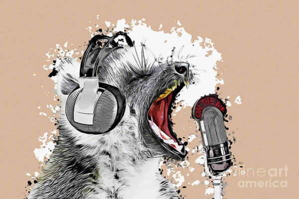 Digital Art - Singing Lemur Comic Art by Angela Doelling AD DESIGN Photo and PhotoArt