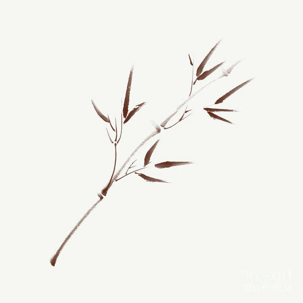 Single Leaf Mixed Media - Single Brown Branch Of Young Bamboo With Leaves  Illustration In by Awen Fine Art Prints