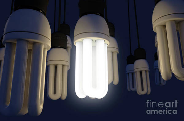 Bulbs Digital Art - Single Light Bulb Illuminated In Collection by Allan Swart