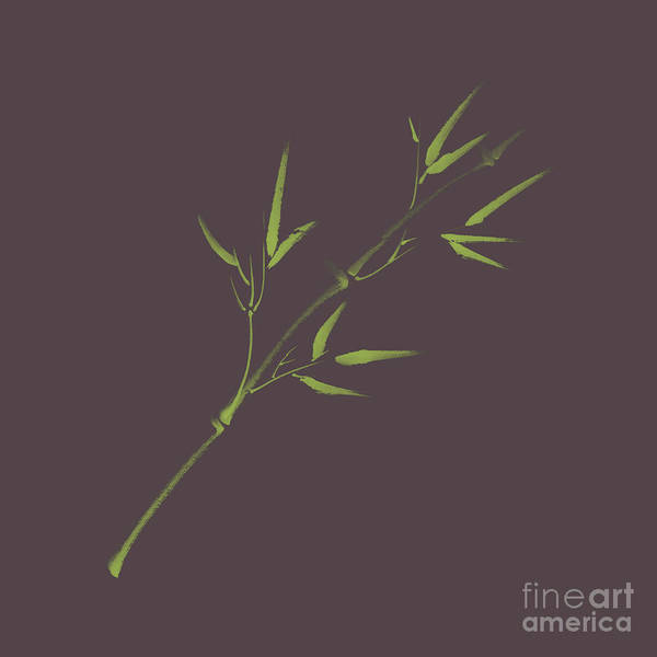 Single Leaf Mixed Media - Single Light Green Branch Of Young Bamboo With Leaves Design On  by Awen Fine Art Prints