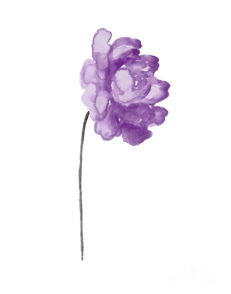 Wall Art - Painting - Single Purple Peony In Full Bloom Facing Right  by Joanna Szmerdt
