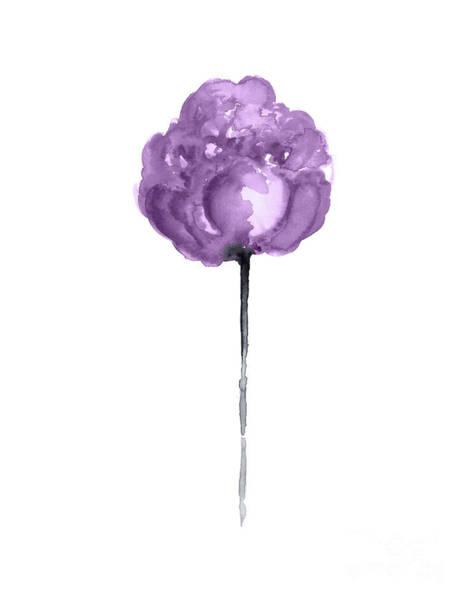 Full Bloom Painting - Single Purple Peony Nearly In Full Bloom by Joanna Szmerdt