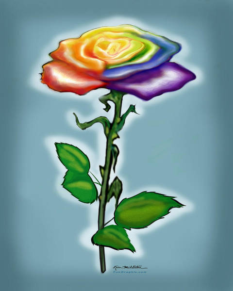 Digital Art - Single Rainbow Rose by Kevin Middleton