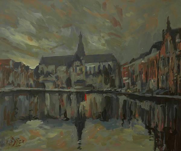 Wall Art - Painting - Sint Bavo Church Haarlem by Nop Briex