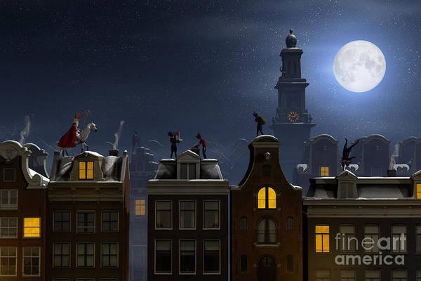 Moonlit Wall Art - Digital Art - Sinterklaas And The Pieten On The by Sara Winter