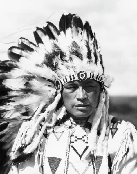 Indigenous People Photograph - Sioux Native American Man Wearing Large by H. Armstrong Roberts