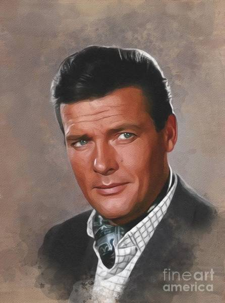 Wall Art - Painting - Sir Roger Moore, Actor by John Springfield