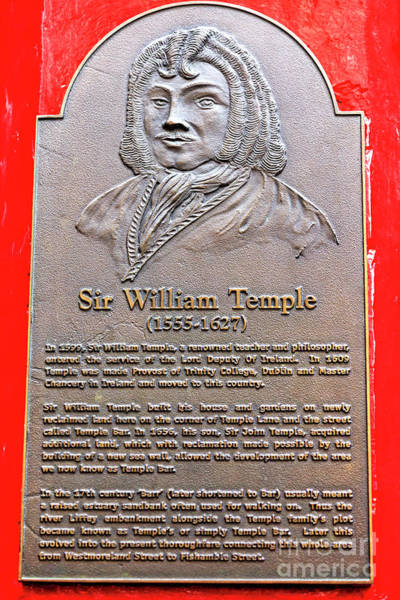 Temple Bar Wall Art - Photograph - Sir William Temple Dublin by John Rizzuto