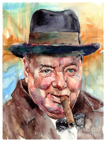 Wall Art - Painting - Sir Winston Churchill In His Hat by Suzann Sines
