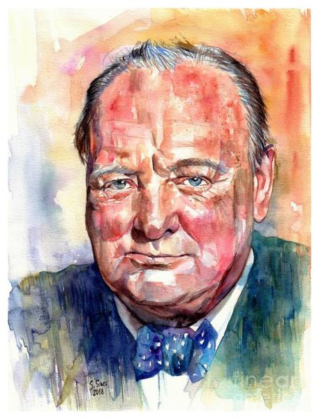 Souvenirs Painting - Sir Winston Churchill Portrait by Suzann Sines