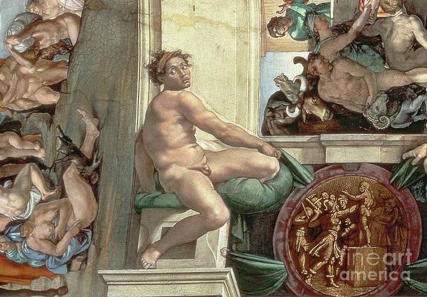 Buonarroti Wall Art - Painting - Sistine Chapel Ceiling, Detail Of One Of The Ignudi by Michelangelo Buonarroti