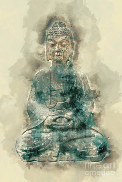 Sepia Painting - Sitting Buddha Watercolor by Delphimages Photo Creations