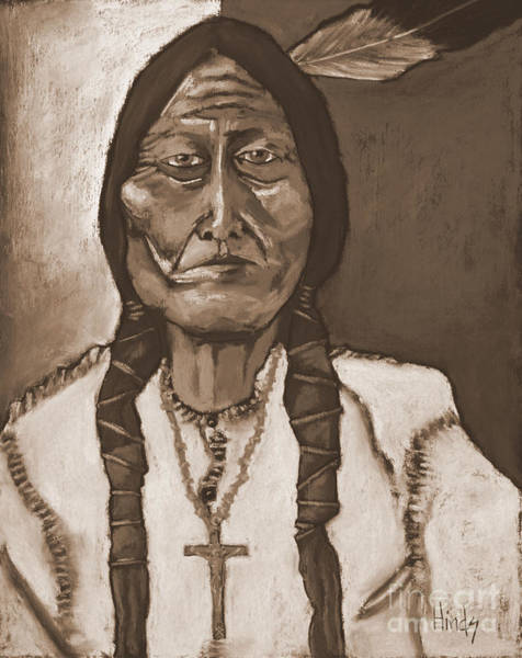Wall Art - Painting - Sitting Bull - Sepia by David Hinds