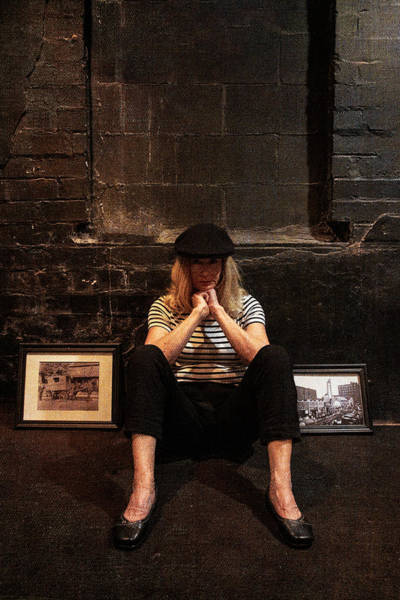 Photograph - Sitting With Her Beret And Hands On Chin by Dan Friend