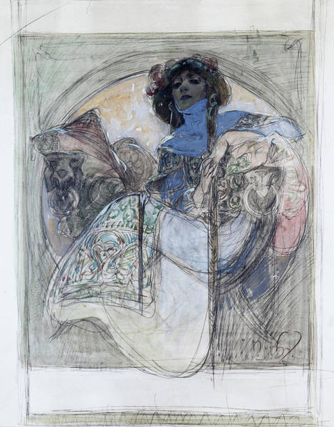 Wall Art - Painting - Sitting Woman - Digital Remastered Edition by Alfons Maria Mucha