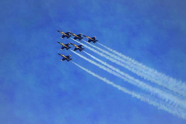 Photograph - Six Blue Angels Pastel by Bonnie Follett