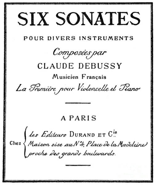 Wall Art - Drawing - Six Sonatas  Score Cover By Claude Debussy by European School