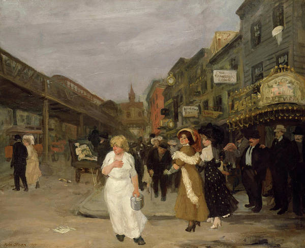 Bar Scene Painting - Sixth Avenue And Thirtieth Street, New York City, 1907 by John Sloan