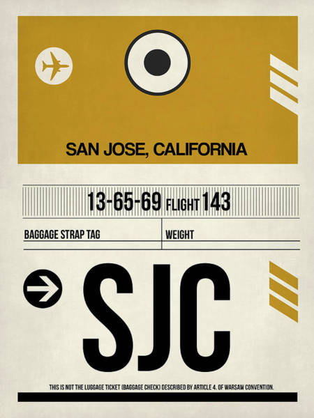 Wall Art - Digital Art - Sjc San Jose Luggage Tag I by Naxart Studio