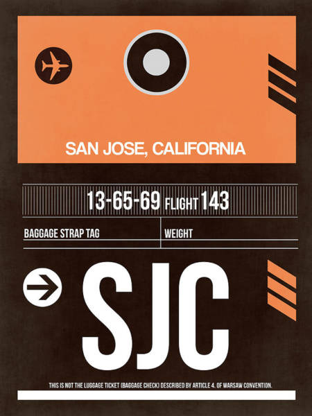 Wall Art - Digital Art - Sjc San Jose Luggage Tag II by Naxart Studio
