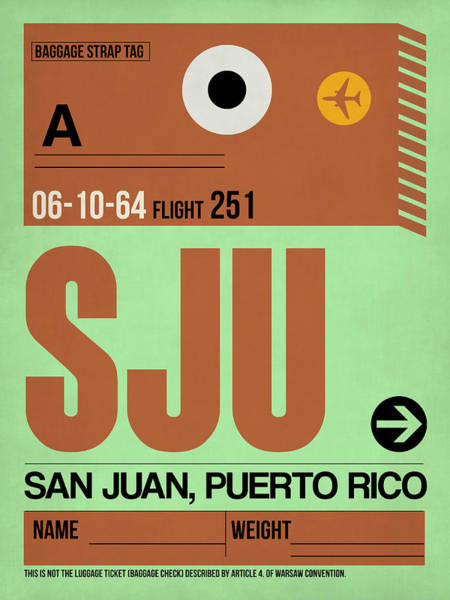 Wall Art - Digital Art - Sju San Juan Luggage Tag I by Naxart Studio