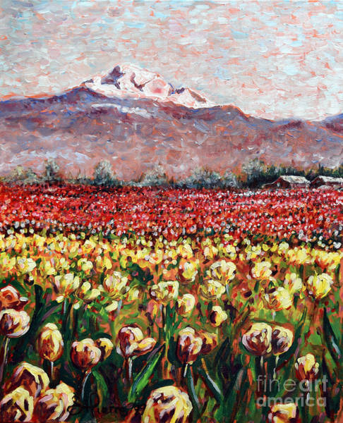 Skagit Valley Painting - Skagit Valley Tulip Festival by Georges St Pierre
