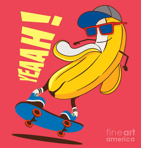Wall Art - Digital Art - Skate And Cartoon Skater  Banana Vector by Braingraph