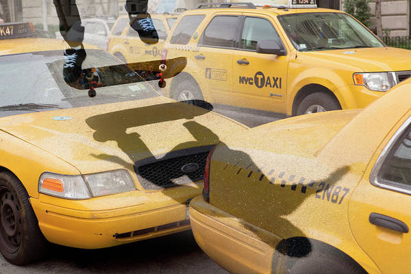 Skateboard Photograph - Skate Boarding Over New York Taxis by Nick Dolding