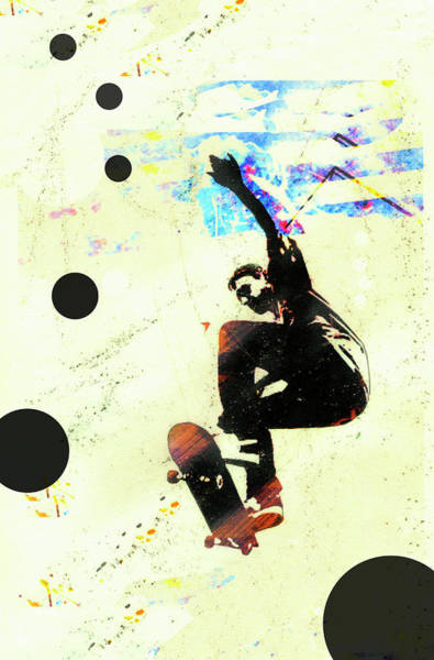 Skateboard Digital Art - Skateboarder In Mid-air by Gary Waters