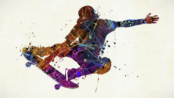 Wall Art - Painting - Skateboarder Watercolor by Dan Sproul