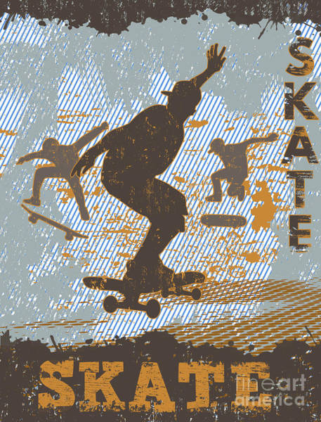 Wall Art - Digital Art - Skateboarding Grunge Poster Background by Ducu59us