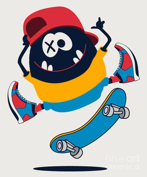 Wall Art - Digital Art - Skater Monster Vector Design by Braingraph