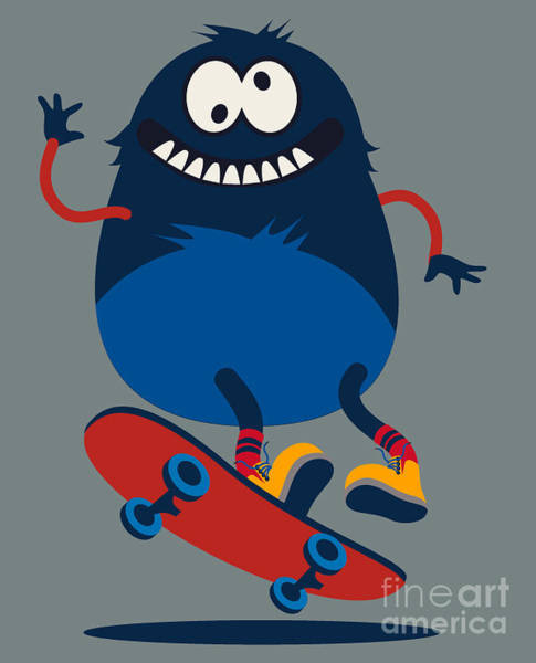 Wall Art - Digital Art - Skater Monster Victor Design For Kids by Braingraph