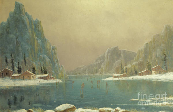 Chalet Wall Art - Painting - Skaters On A Lake, 19th Century by Nils Hans Christiansen