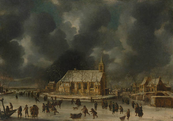 Wall Art - Painting - Skating At Sloten, Near Amsterdam by Jan Abrahamsz Beerstraaten