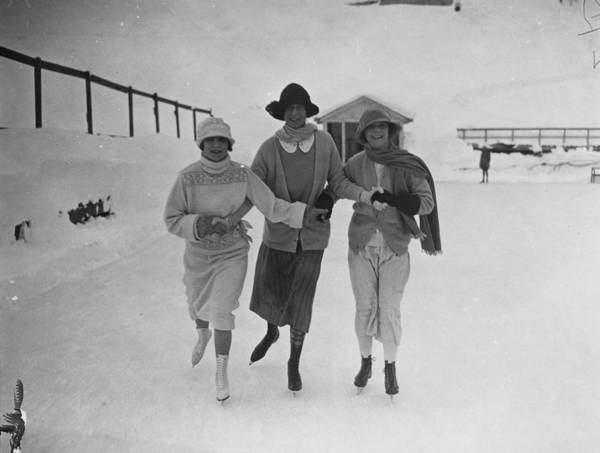 Switzerland Photograph - Skating In St Moritz by W. G. Phillips
