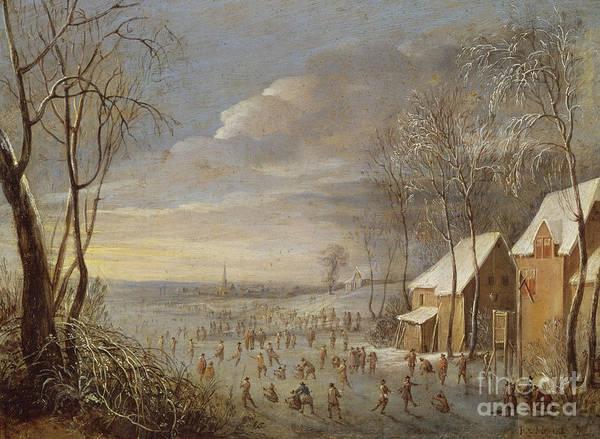 Wall Art - Painting - Skating Scene Or, Snow Effect by Robert van den Hoecke