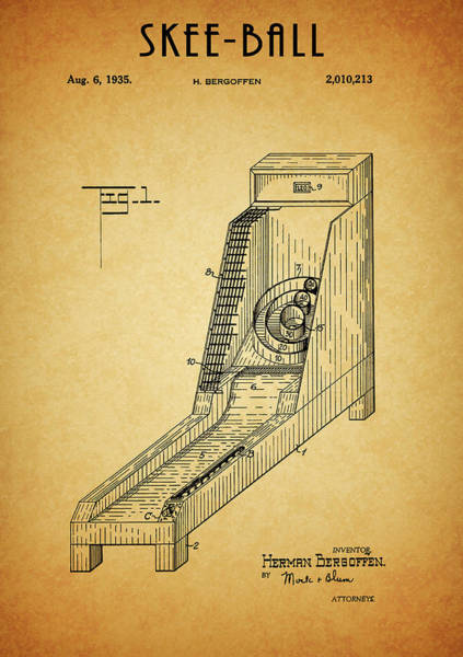 Drawing - Skee-ball Game Patent by Dan Sproul