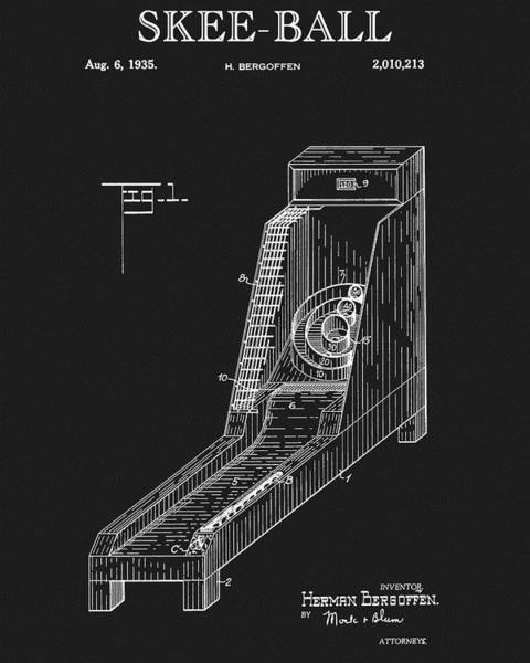 Drawing - Skee Ball Patent by Dan Sproul