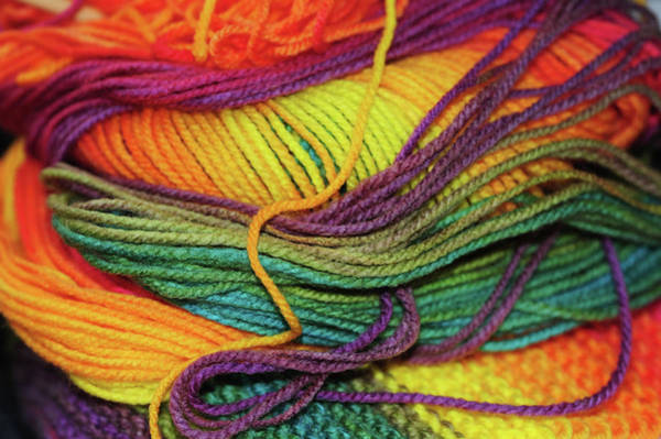 Photograph - Skein Of Rainbow Colored Threads by Jenny Rainbow