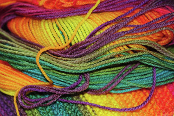 Photograph - Skein Of Rainbow Colored Threads. Knitting Passion by Jenny Rainbow