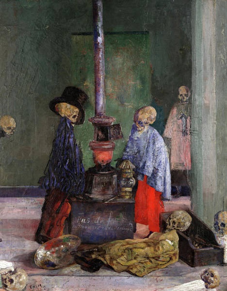 Wall Art - Painting - Skeletons Warming Themselves, 1889 by James Ensor