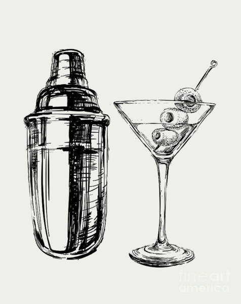 Wall Art - Digital Art - Sketch Martini Cocktails With Olives by Mazura1989