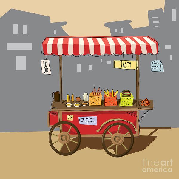 Sketch Of Street Food Carts, Cartoon Art Print by Valeri Hadeev